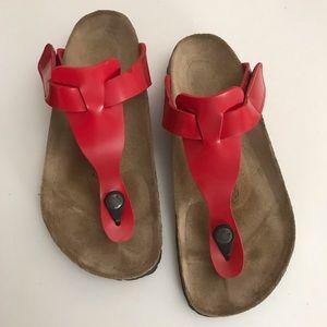 Red Birkenstock Sandals Birki's Womens Size 9